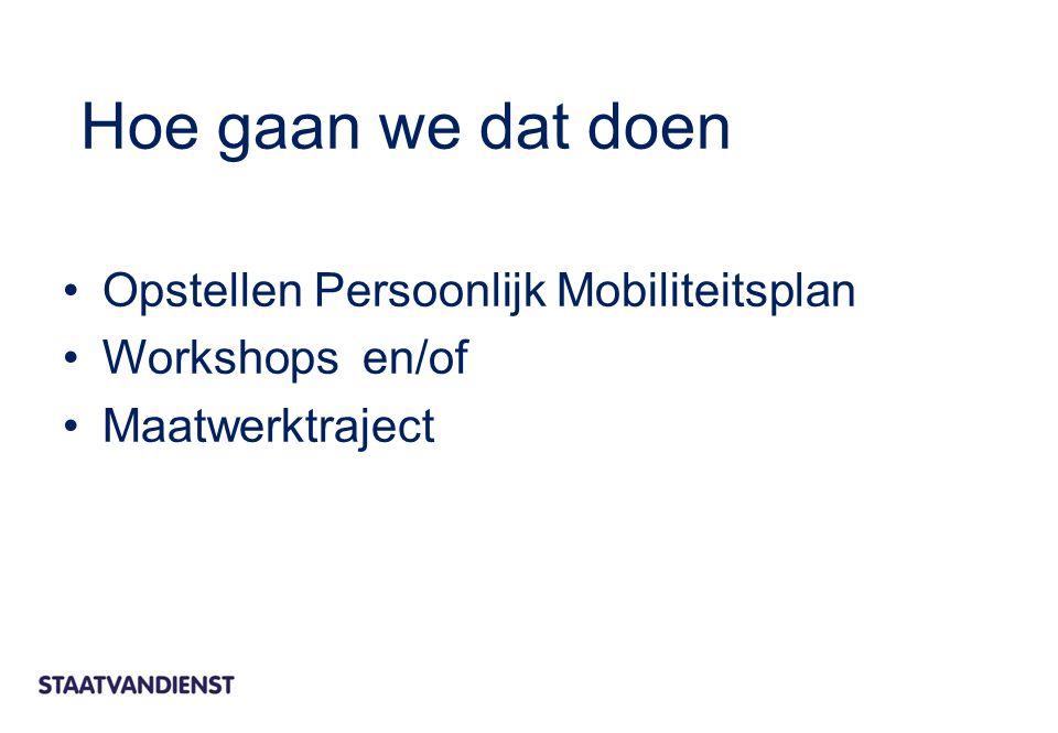 Opstellen Persoonlijk Mobiliteitsplan Workshops en/of Maatwerktraject Hoe gaan we dat doen