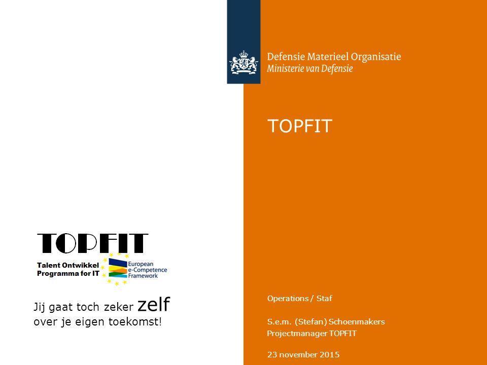 23 november 2015 S.e.m. (Stefan) Schoenmakers Projectmanager TOPFIT Operations / Staf TOPFIT Jij gaat toch zeker zelf over je eigen toekomst!