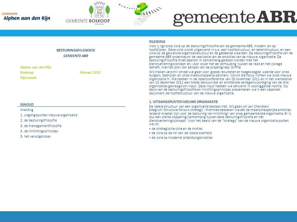 BESTURINGSFILOSOFIE GEMEENTE ABR Alphen aan den Rijn Boskoop februari 2012 Rijnwoude INHOUD Inleiding 1.