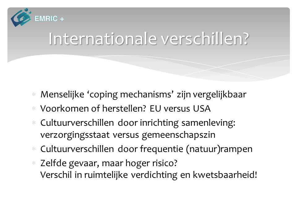 Internationale verschillen?  Menselijke 'coping mechanisms' zijn vergelijkbaar  Voorkomen of herstellen? EU versus USA  Cultuurverschillen door inr