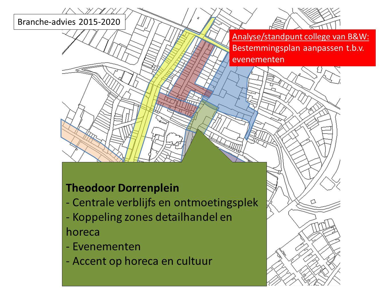 Theodoor Dorrenplein - Centrale verblijfs en ontmoetingsplek - Koppeling zones detailhandel en horeca - Evenementen - Accent op horeca en cultuur Branche-advies 2015-2020 Analyse/standpunt college van B&W: Bestemmingsplan aanpassen t.b.v.