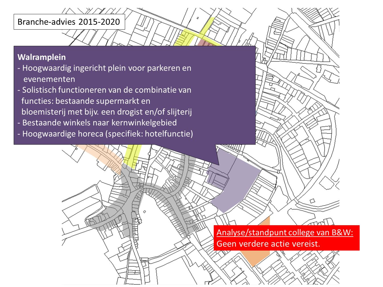 Walramplein - Hoogwaardig ingericht plein voor parkeren en evenementen - Solistisch functioneren van de combinatie van functies: bestaande supermarkt en bloemisterij met bijv.