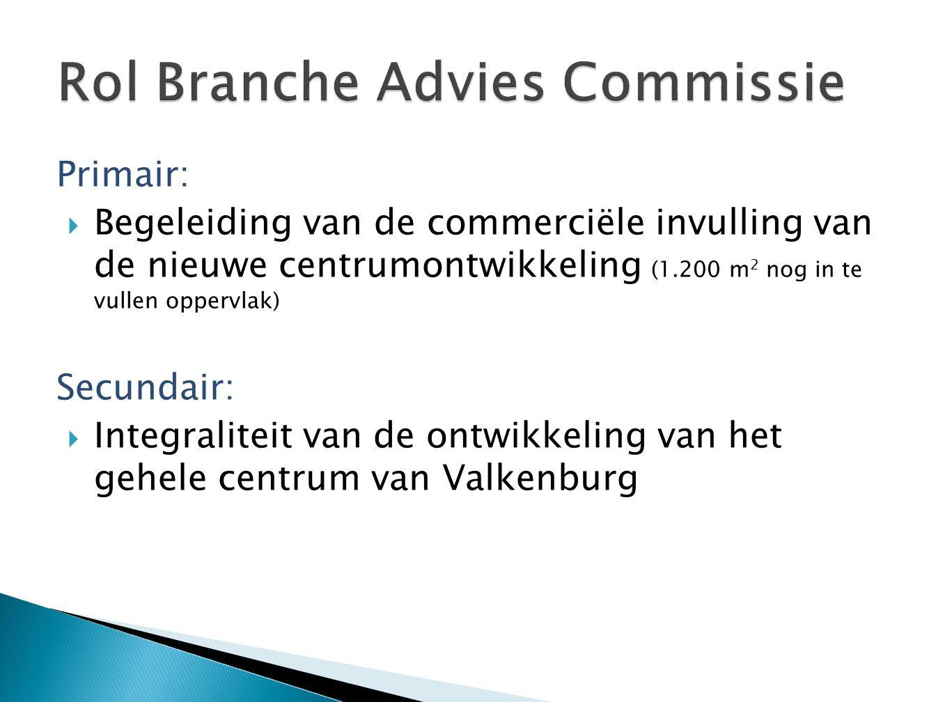 Primair:  Begeleiding van de commerciële invulling van de nieuwe centrumontwikkeling (1.200 m 2 nog in te vullen oppervlak) Secundair:  Integraliteit van de ontwikkeling van het gehele centrum van Valkenburg