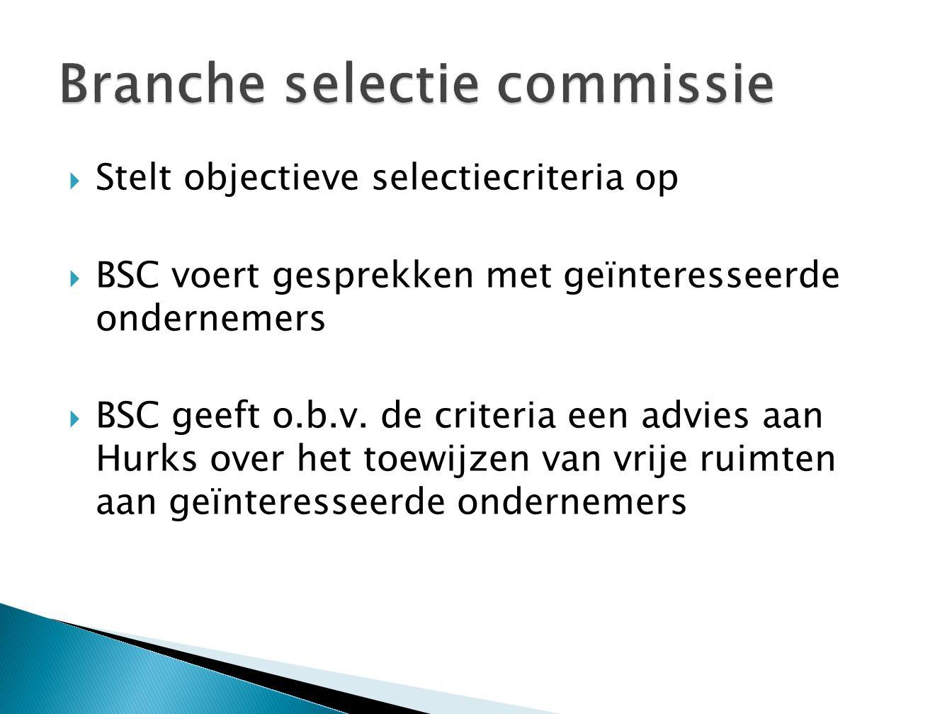 Stelt objectieve selectiecriteria op  BSC voert gesprekken met geïnteresseerde ondernemers  BSC geeft o.b.v.