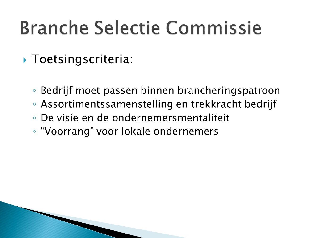  Ambtelijk vertegenwoordiger gemeente, tevens voorzitter (Bart Mennens)  Vertegenwoordiger van Hurks Vastgoed Zuid BV (Cees Geerts)  Vertegenwoordiger van het Hoofdbedrijfschap Detailhandel (Erik Reubsaet)  Secretariaat door een vertegenwoordiger van Hurks (Henrie Coumans)