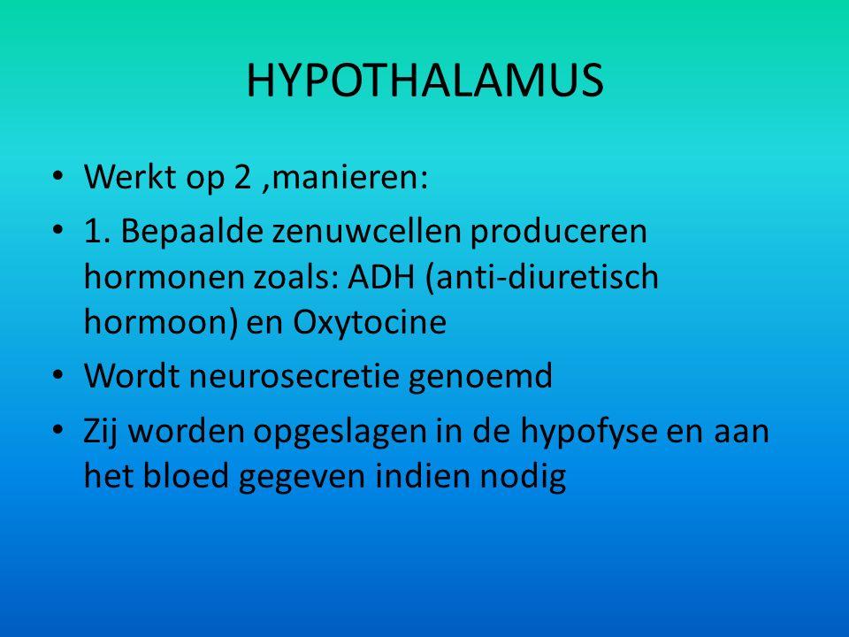 Werkt op 2,manieren: 1. Bepaalde zenuwcellen produceren hormonen zoals: ADH (anti-diuretisch hormoon) en Oxytocine Wordt neurosecretie genoemd Zij wor