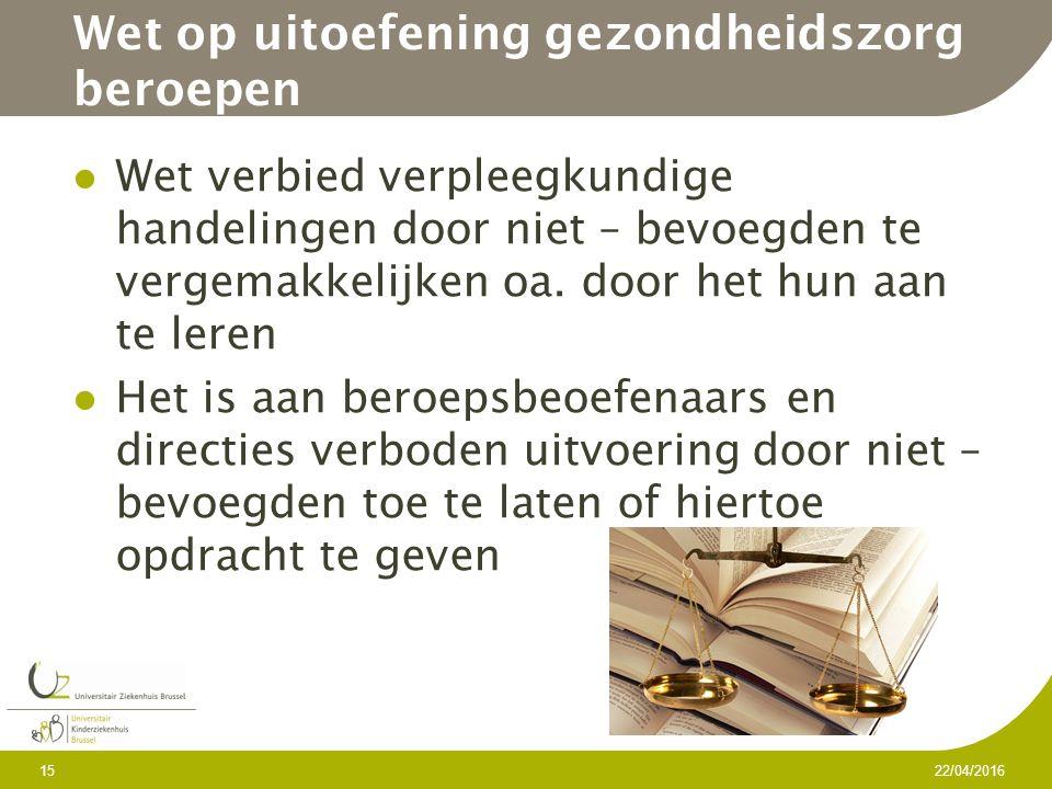 Wet op uitoefening gezondheidszorg beroepen Wet verbied verpleegkundige handelingen door niet – bevoegden te vergemakkelijken oa.