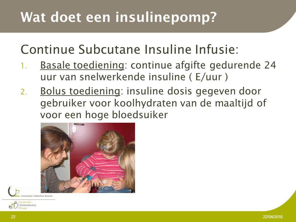 Wat doet een insulinepomp. Continue Subcutane Insuline Infusie: 1.