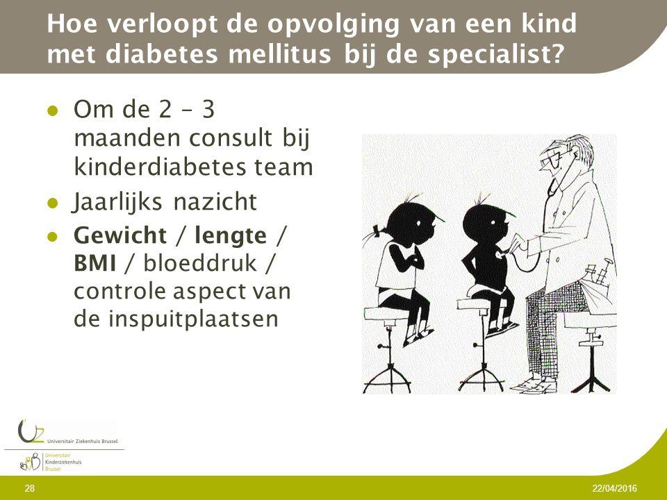 Hoe verloopt de opvolging van een kind met diabetes mellitus bij de specialist.
