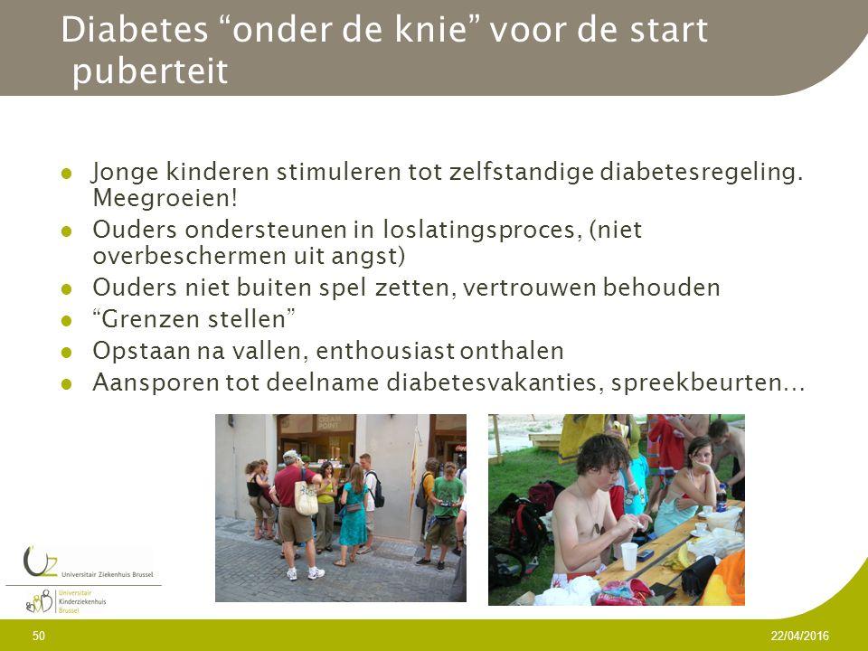 Diabetes onder de knie voor de start puberteit Jonge kinderen stimuleren tot zelfstandige diabetesregeling.