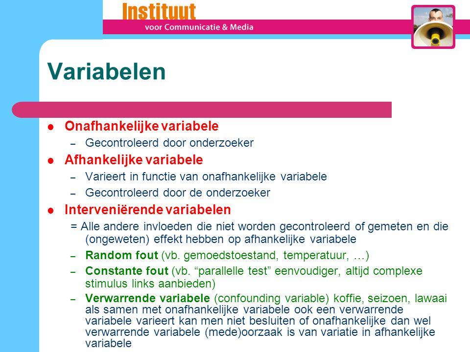 Variabelen Onafhankelijke variabele – Gecontroleerd door onderzoeker Afhankelijke variabele – Varieert in functie van onafhankelijke variabele – Gecon