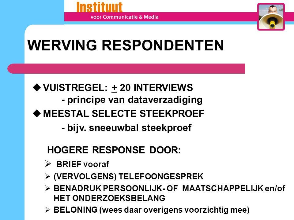 WERVING RESPONDENTEN  VUISTREGEL: + 20 INTERVIEWS - principe van dataverzadiging  MEESTAL SELECTE STEEKPROEF - bijv.