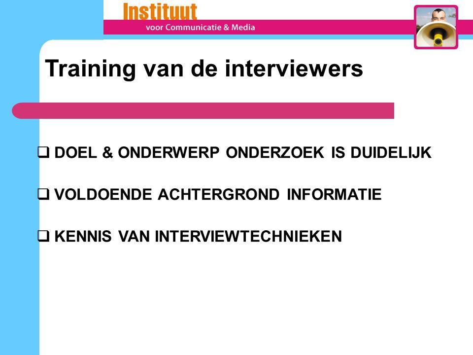  DOEL & ONDERWERP ONDERZOEK IS DUIDELIJK  VOLDOENDE ACHTERGROND INFORMATIE  KENNIS VAN INTERVIEWTECHNIEKEN Training van de interviewers