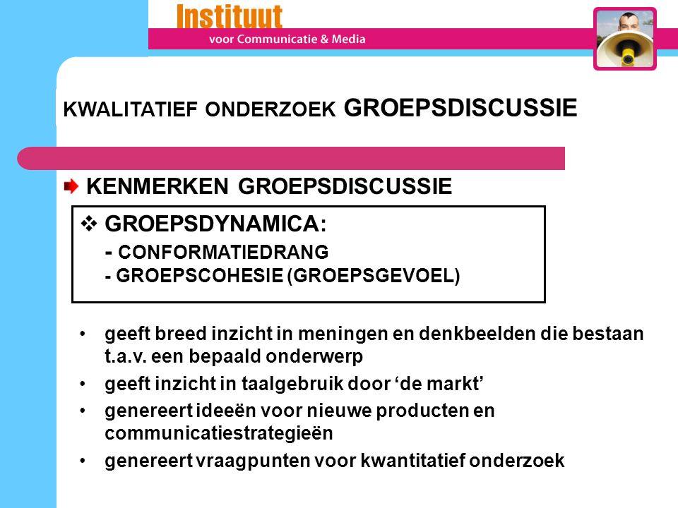 KWALITATIEF ONDERZOEK GROEPSDISCUSSIE KENMERKEN GROEPSDISCUSSIE  GROEPSDYNAMICA: - CONFORMATIEDRANG - GROEPSCOHESIE (GROEPSGEVOEL) geeft breed inzich