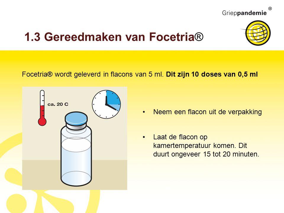 1.3 Gereedmaken van Focetria® Focetria® wordt geleverd in flacons van 5 ml.