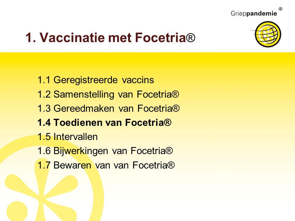 1. Vaccinatie met Focetria ® 1.1 Geregistreerde vaccins 1.2 Samenstelling van Focetria® 1.3 Gereedmaken van Focetria® 1.4 Toedienen van Focetria® 1.5