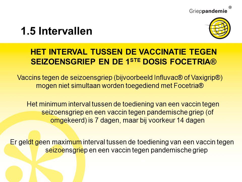 1.5 Intervallen HET INTERVAL TUSSEN DE VACCINATIE TEGEN SEIZOENSGRIEP EN DE 1 STE DOSIS FOCETRIA® Vaccins tegen de seizoensgriep (bijvoorbeeld Influvac® of Vaxigrip®) mogen niet simultaan worden toegediend met Focetria® Het minimum interval tussen de toediening van een vaccin tegen seizoensgriep en een vaccin tegen pandemische griep (of omgekeerd) is 7 dagen, maar bij voorkeur 14 dagen Er geldt geen maximum interval tussen de toediening van een vaccin tegen seizoensgriep en een vaccin tegen pandemische griep