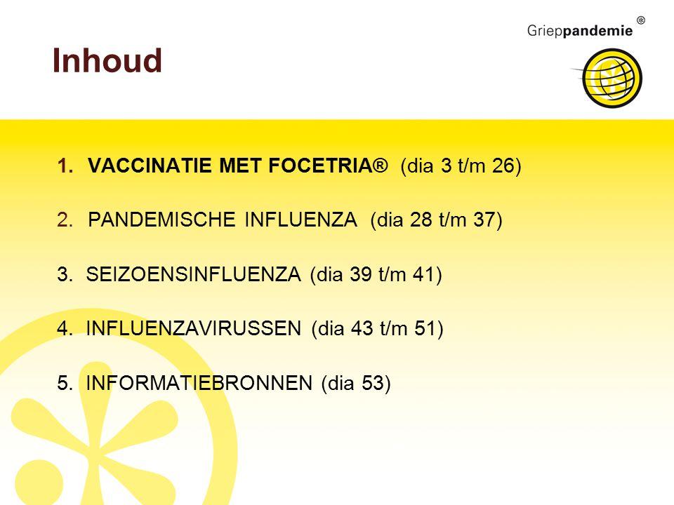 Inhoud 1.VACCINATIE MET FOCETRIA® (dia 3 t/m 26) 2.PANDEMISCHE INFLUENZA (dia 28 t/m 37) 3.