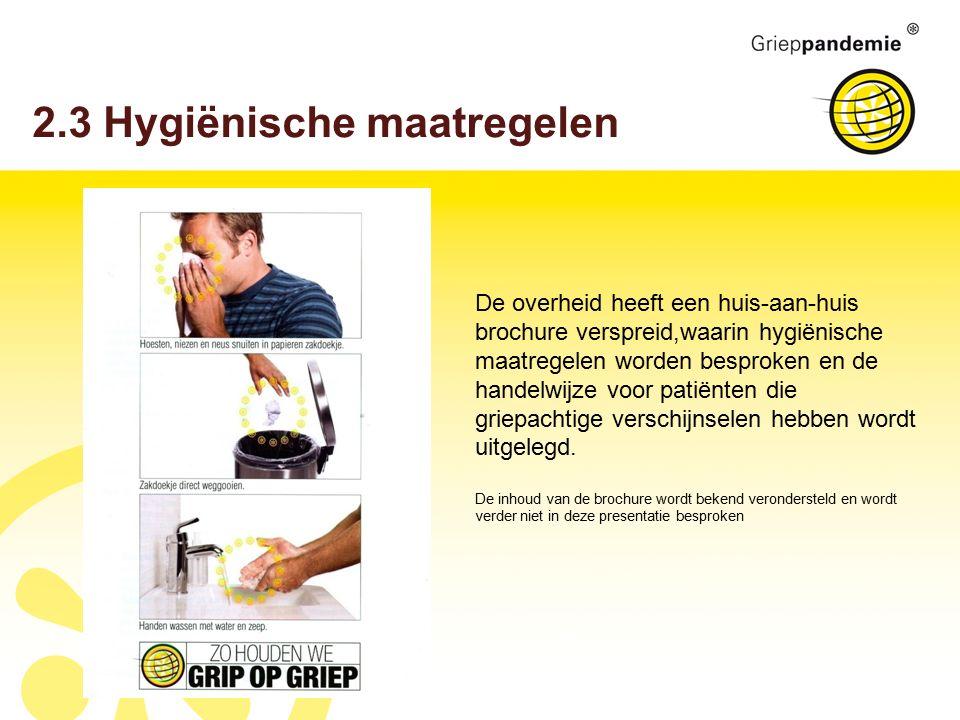 2.3 Hygiënische maatregelen De overheid heeft een huis-aan-huis brochure verspreid,waarin hygiënische maatregelen worden besproken en de handelwijze voor patiënten die griepachtige verschijnselen hebben wordt uitgelegd.