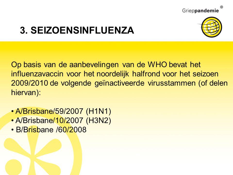 3. SEIZOENSINFLUENZA Op basis van de aanbevelingen van de WHO bevat het influenzavaccin voor het noordelijk halfrond voor het seizoen 2009/2010 de vol