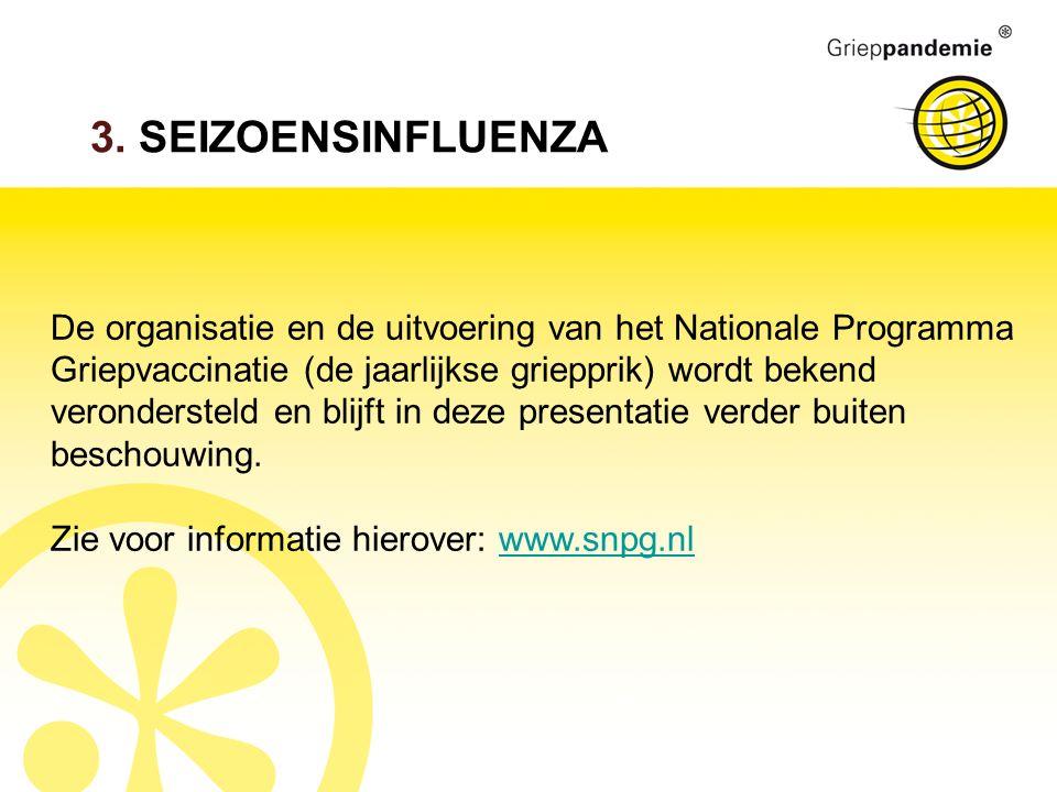 3. SEIZOENSINFLUENZA De organisatie en de uitvoering van het Nationale Programma Griepvaccinatie (de jaarlijkse griepprik) wordt bekend verondersteld