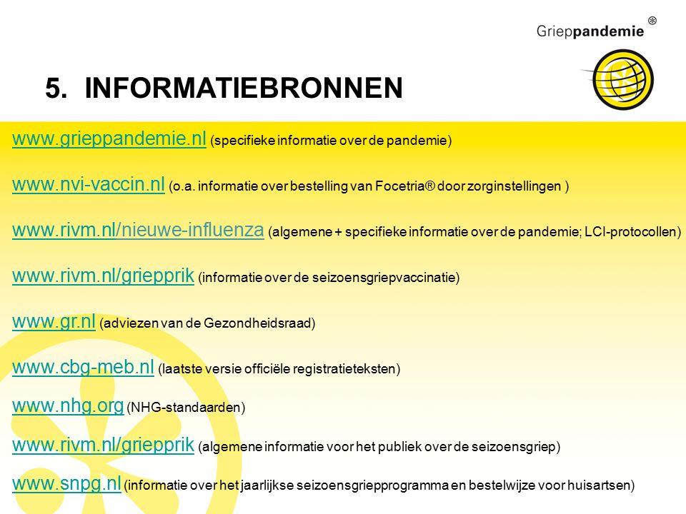 www.grieppandemie.nlwww.grieppandemie.nl (specifieke informatie over de pandemie) www.nvi-vaccin.nlwww.nvi-vaccin.nl (o.a. informatie over bestelling