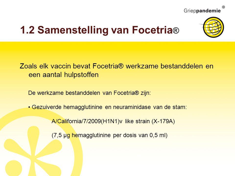 1.2 Samenstelling van Focetria ® Zoals elk vaccin bevat Focetria® werkzame bestanddelen en een aantal hulpstoffen De werkzame bestanddelen van Focetria® zijn: Gezuiverde hemagglutinine en neuraminidase van de stam: A/California/7/2009(H1N1)v like strain (X-179A) (7,5 µg hemagglutinine per dosis van 0,5 ml)