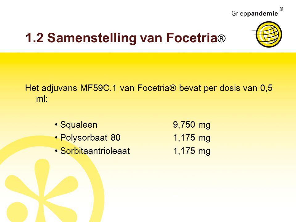 1.2 Samenstelling van Focetria ® Het adjuvans MF59C.1 van Focetria® bevat per dosis van 0,5 ml: Squaleen9,750 mg Polysorbaat 801,175 mg Sorbitaantriol