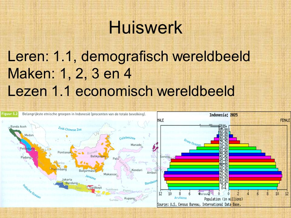 Huiswerk Leren: 1.1, demografisch wereldbeeld Maken: 1, 2, 3 en 4 Lezen 1.1 economisch wereldbeeld