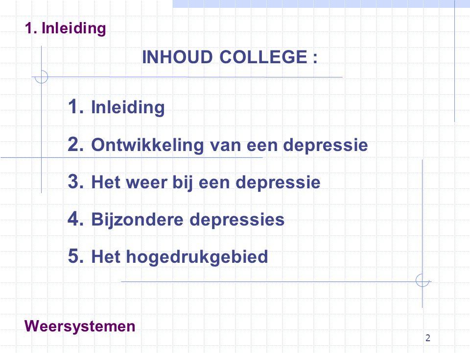 2 Weersystemen INHOUD COLLEGE : 1. Inleiding 2. Ontwikkeling van een depressie 3. Het weer bij een depressie 4. Bijzondere depressies 5. Het hogedrukg
