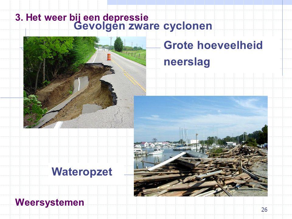 26 Weersystemen Gevolgen zware cyclonen 3. Het weer bij een depressie Grote hoeveelheid neerslag Wateropzet