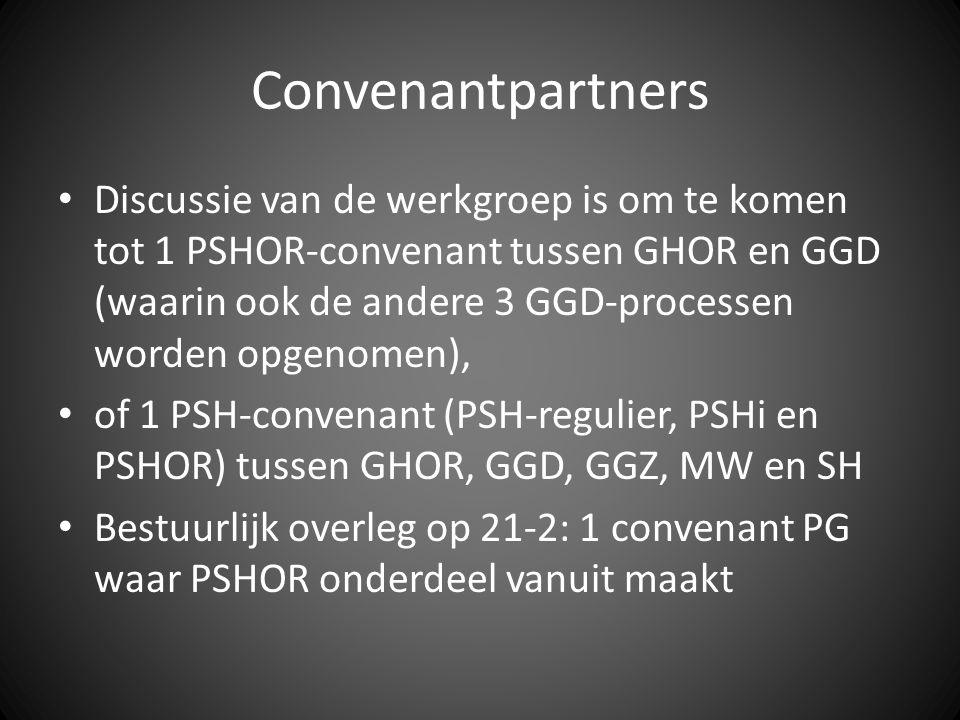 Convenantpartners Discussie van de werkgroep is om te komen tot 1 PSHOR-convenant tussen GHOR en GGD (waarin ook de andere 3 GGD-processen worden opgenomen), of 1 PSH-convenant (PSH-regulier, PSHi en PSHOR) tussen GHOR, GGD, GGZ, MW en SH Bestuurlijk overleg op 21-2: 1 convenant PG waar PSHOR onderdeel vanuit maakt