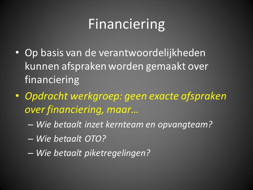 Financiering Op basis van de verantwoordelijkheden kunnen afspraken worden gemaakt over financiering Opdracht werkgroep: geen exacte afspraken over financiering, maar… – Wie betaalt inzet kernteam en opvangteam.