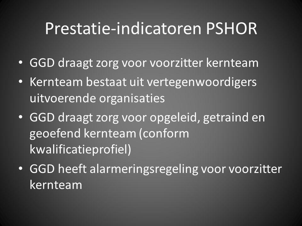 Prestatie-indicatoren PSHOR GGD draagt zorg voor voorzitter kernteam Kernteam bestaat uit vertegenwoordigers uitvoerende organisaties GGD draagt zorg