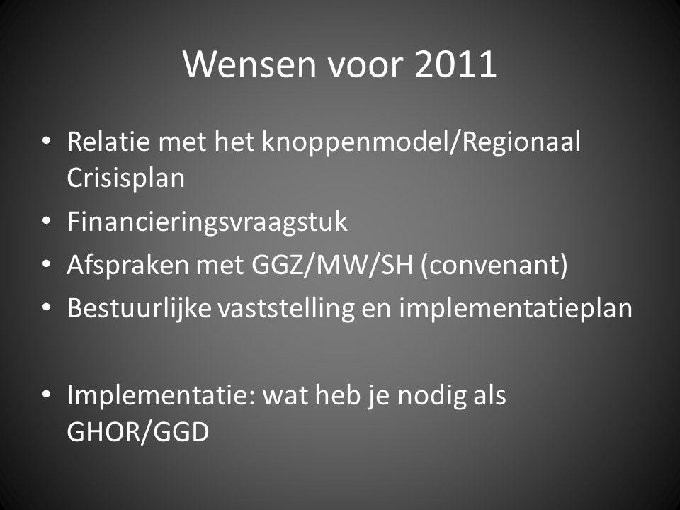 Wensen voor 2011 Relatie met het knoppenmodel/Regionaal Crisisplan Financieringsvraagstuk Afspraken met GGZ/MW/SH (convenant) Bestuurlijke vaststelling en implementatieplan Implementatie: wat heb je nodig als GHOR/GGD
