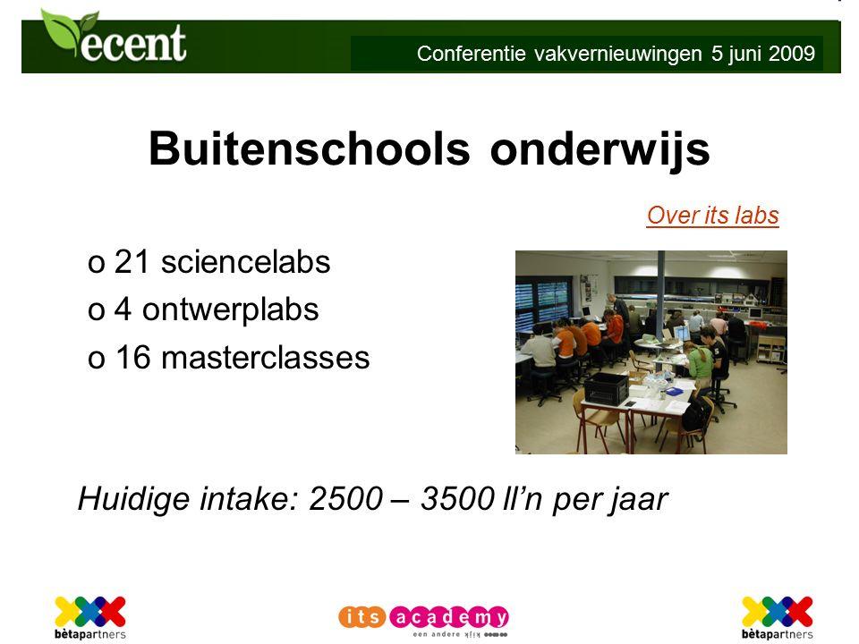 Conferentie vakvernieuwingen 5 juni 2009 Buitenschools onderwijs Over its labs o21 sciencelabs o4 ontwerplabs o16 masterclasses Huidige intake: 2500 – 3500 ll'n per jaar