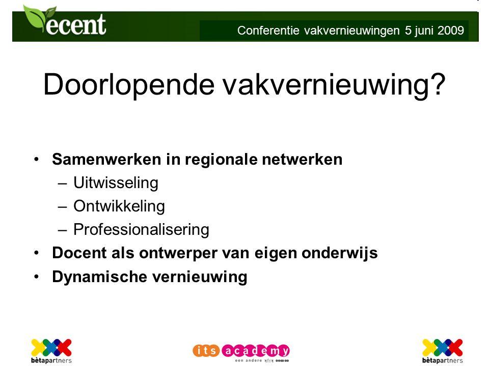 Conferentie vakvernieuwingen 5 juni 2009 Doorlopende vakvernieuwing.