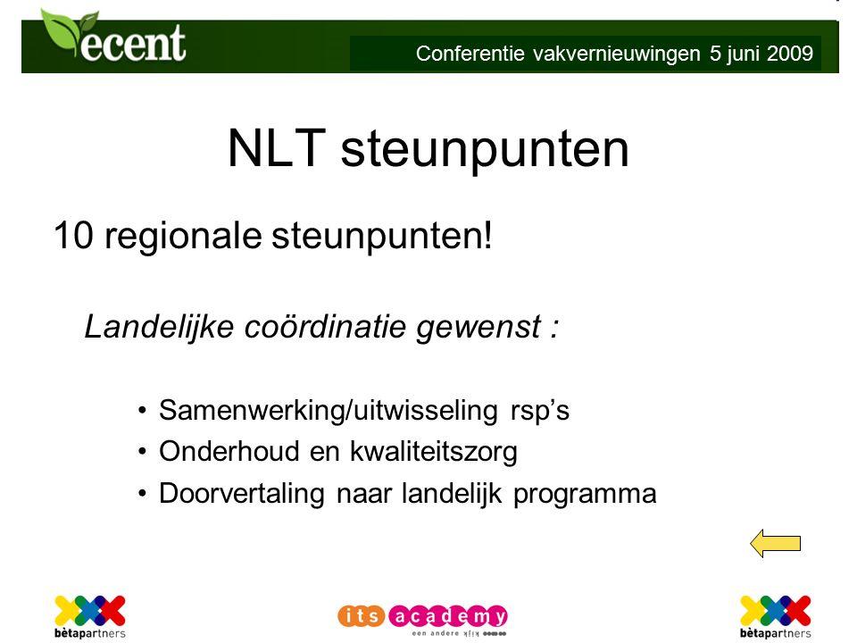 Conferentie vakvernieuwingen 5 juni 2009 NLT steunpunten 10 regionale steunpunten.