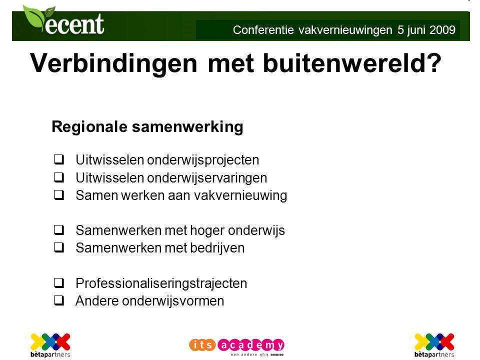 Conferentie vakvernieuwingen 5 juni 2009 Verbindingen met buitenwereld.