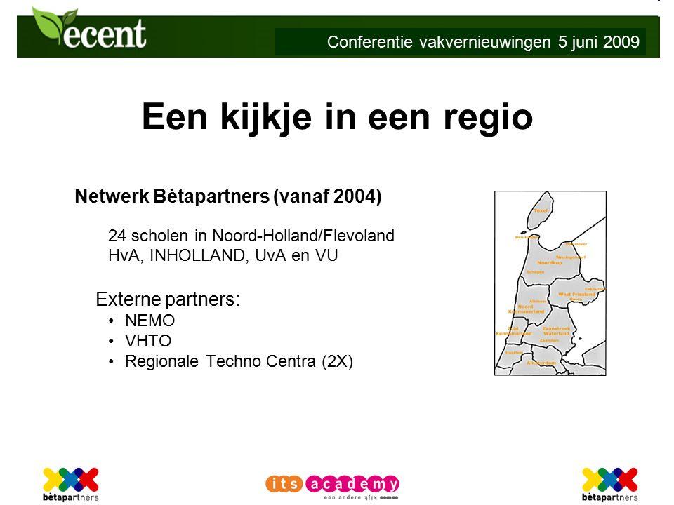 Conferentie vakvernieuwingen 5 juni 2009 Een kijkje in een regio Netwerk Bètapartners (vanaf 2004) 24 scholen in Noord-Holland/Flevoland HvA, INHOLLAND, UvA en VU Externe partners: NEMO VHTO Regionale Techno Centra (2X)