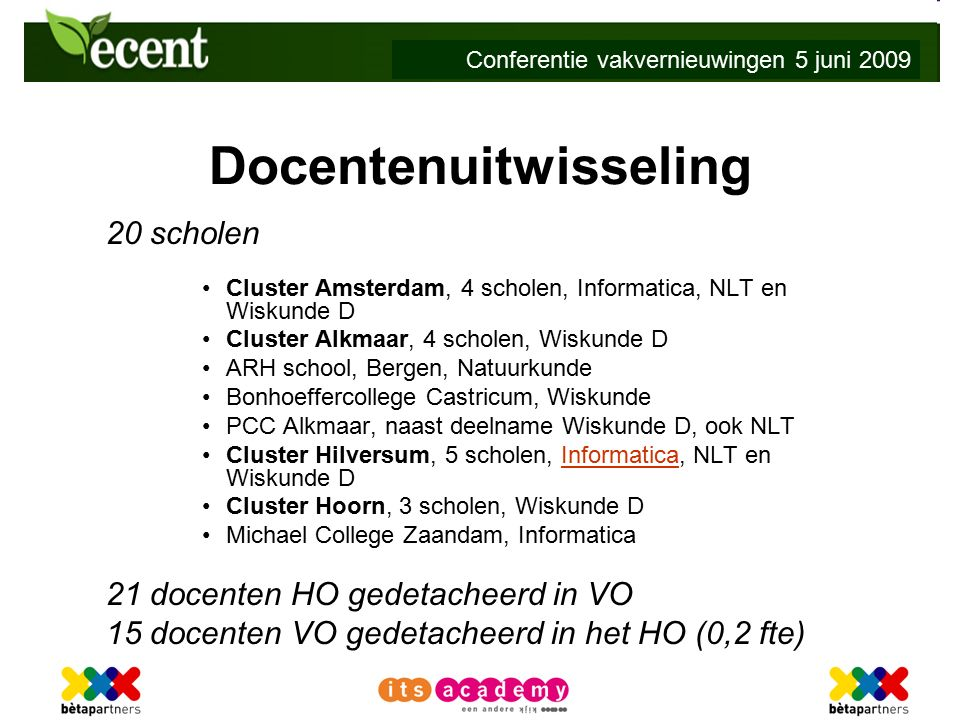 Conferentie vakvernieuwingen 5 juni 2009 Docentenuitwisseling 20 scholen Cluster Amsterdam, 4 scholen, Informatica, NLT en Wiskunde D Cluster Alkmaar, 4 scholen, Wiskunde D ARH school, Bergen, Natuurkunde Bonhoeffercollege Castricum, Wiskunde PCC Alkmaar, naast deelname Wiskunde D, ook NLT Cluster Hilversum, 5 scholen, Informatica, NLT en Wiskunde DInformatica Cluster Hoorn, 3 scholen, Wiskunde D Michael College Zaandam, Informatica 21 docenten HO gedetacheerd in VO 15 docenten VO gedetacheerd in het HO (0,2 fte)