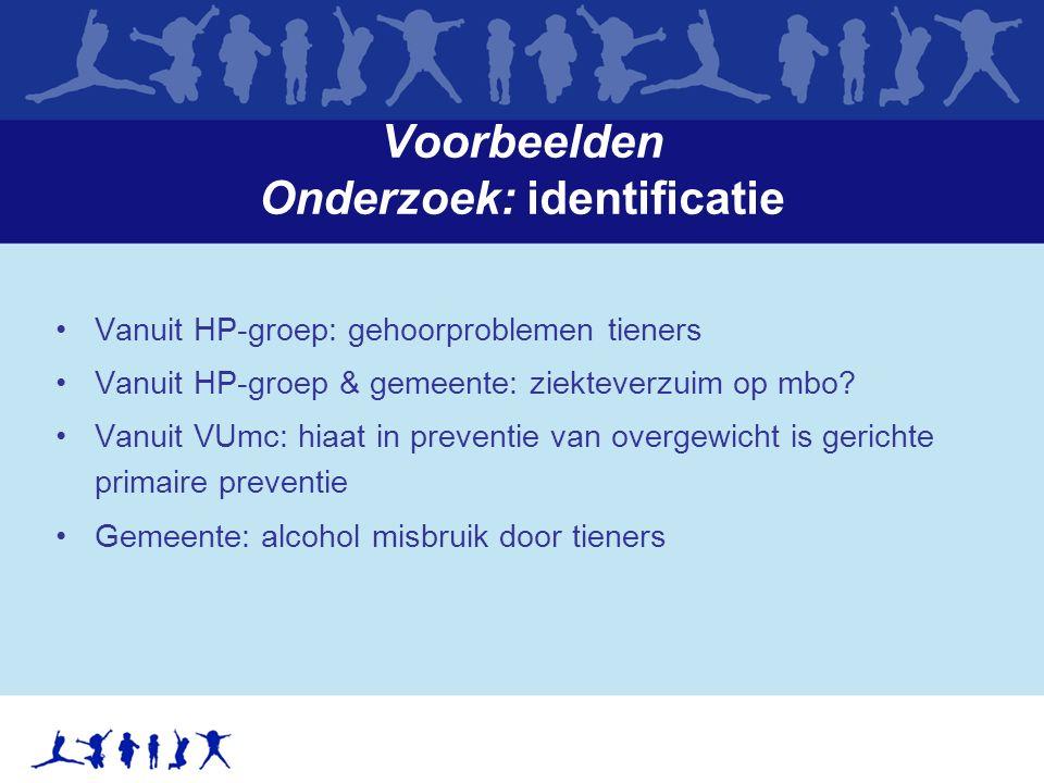 Voorbeelden Onderzoek: identificatie Vanuit HP-groep: gehoorproblemen tieners Vanuit HP-groep & gemeente: ziekteverzuim op mbo.