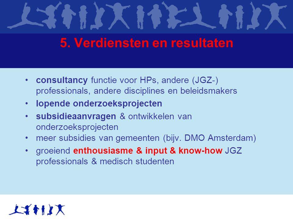 5. Verdiensten en resultaten consultancy functie voor HPs, andere (JGZ-) professionals, andere disciplines en beleidsmakers lopende onderzoeksprojecte