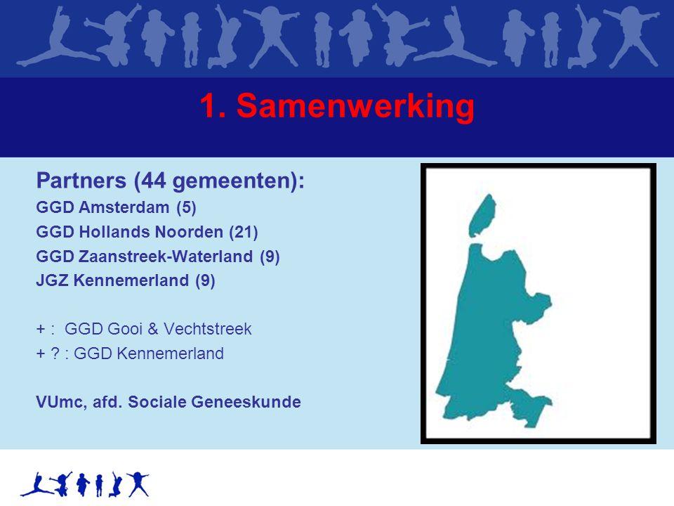 1. Samenwerking Partners (44 gemeenten): GGD Amsterdam (5) GGD Hollands Noorden (21) GGD Zaanstreek-Waterland (9) JGZ Kennemerland (9) + : GGD Gooi &
