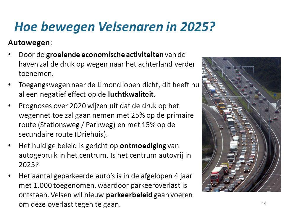 14 Hoe bewegen Velsenaren in 2025? Autowegen: Door de groeiende economische activiteiten van de haven zal de druk op wegen naar het achterland verder
