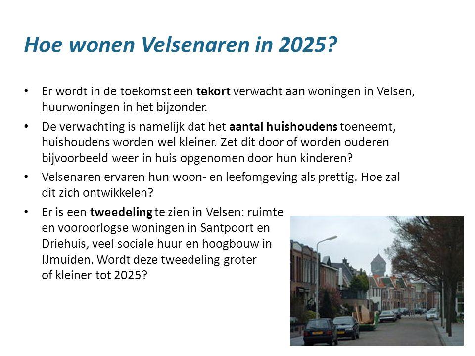 18 Hoe wonen Velsenaren in 2025? Er wordt in de toekomst een tekort verwacht aan woningen in Velsen, huurwoningen in het bijzonder. De verwachting is