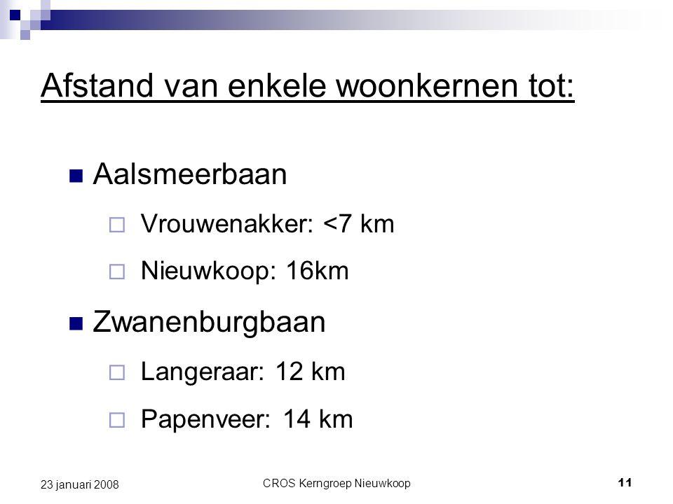 CROS Kerngroep Nieuwkoop11 23 januari 2008 Afstand van enkele woonkernen tot: Aalsmeerbaan  Vrouwenakker: <7 km  Nieuwkoop: 16km Zwanenburgbaan  Langeraar: 12 km  Papenveer: 14 km