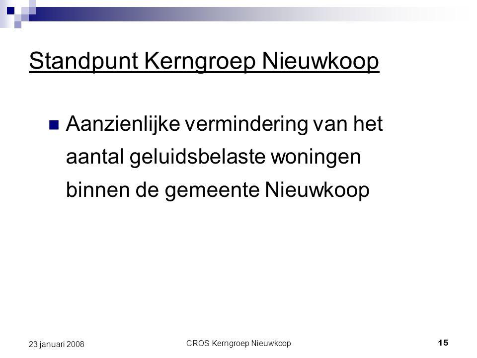 CROS Kerngroep Nieuwkoop15 23 januari 2008 Standpunt Kerngroep Nieuwkoop Aanzienlijke vermindering van het aantal geluidsbelaste woningen binnen de gemeente Nieuwkoop