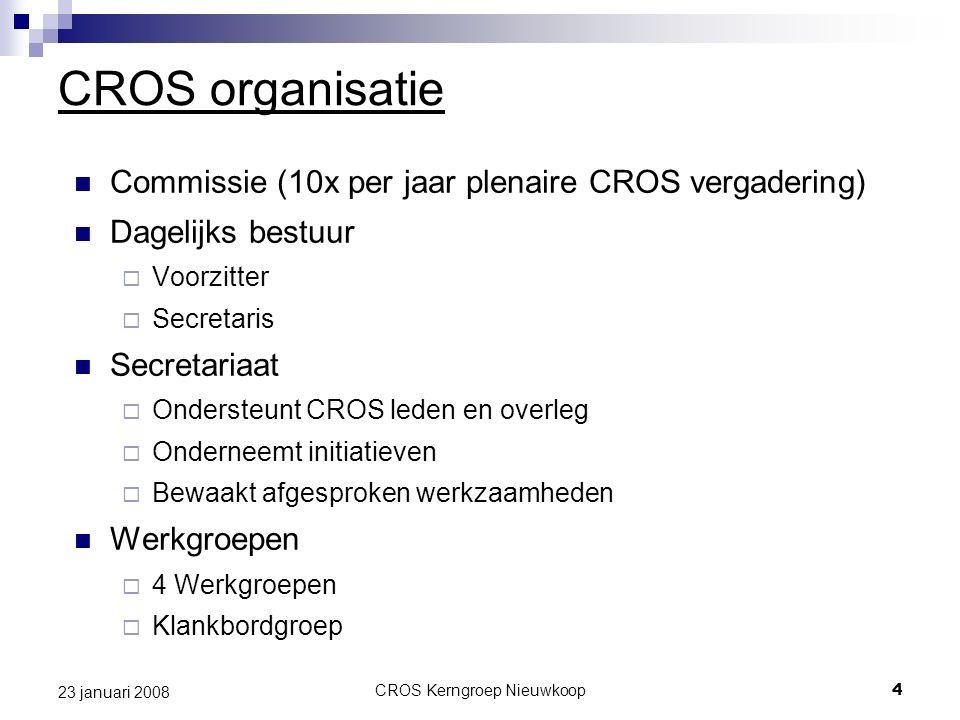 CROS Kerngroep Nieuwkoop4 23 januari 2008 CROS organisatie Commissie (10x per jaar plenaire CROS vergadering) Dagelijks bestuur  Voorzitter  Secreta