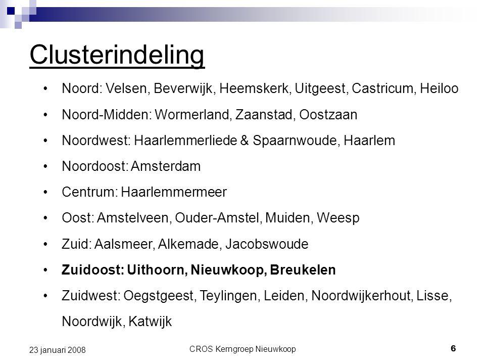 CROS Kerngroep Nieuwkoop6 23 januari 2008 Clusterindeling Noord: Velsen, Beverwijk, Heemskerk, Uitgeest, Castricum, Heiloo Noord-Midden: Wormerland, Z